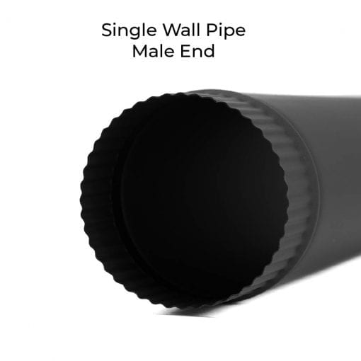 4 inch single-wall stovepipe crimped male end