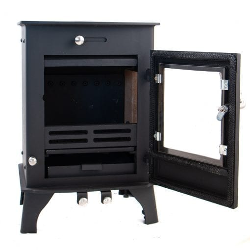 Dwarf 4kW Small Wood Stove with Door Open