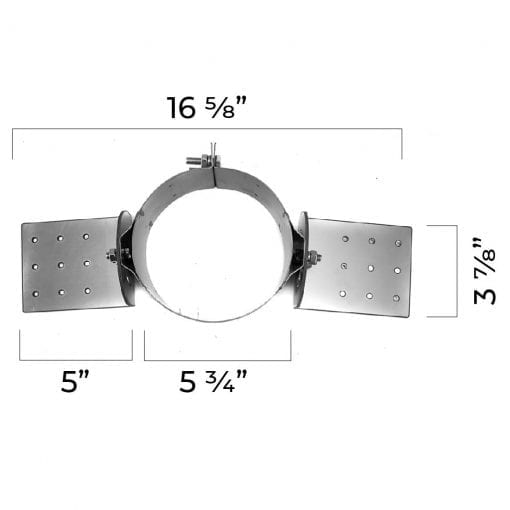 4 inch roof support bracket dimensions top view