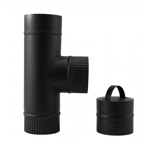 4 inch stovepipe tee with cleanout cap for wood stove rear exit