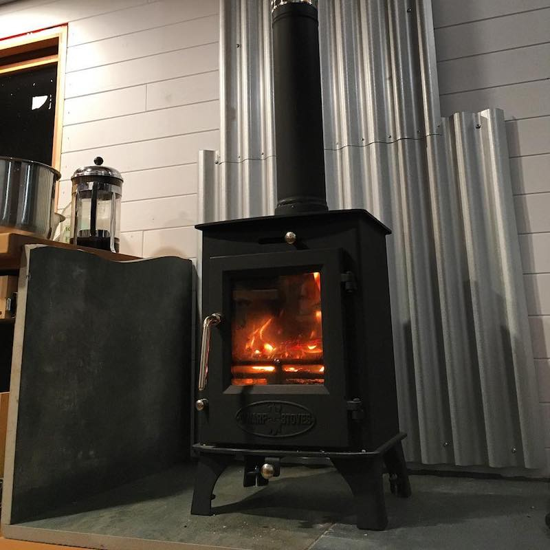 Warm fire heating the tiny house.