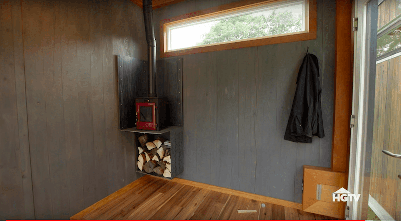 Custom hearth and wood stand in one.