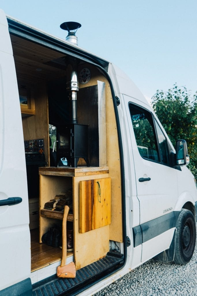 3kW Wood Stove Installed in Sprinter Van