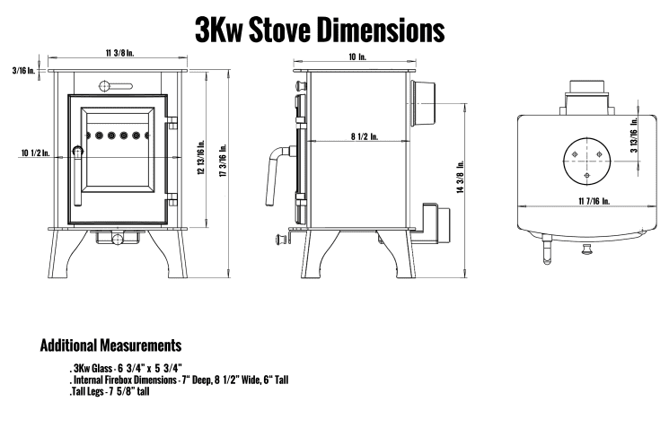 3kW Stove Dimensions