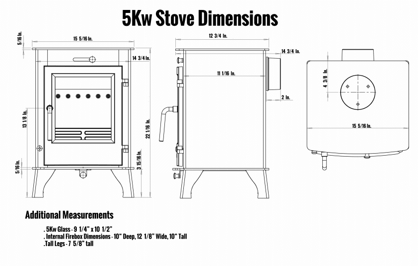 5kW Stove Dimensions