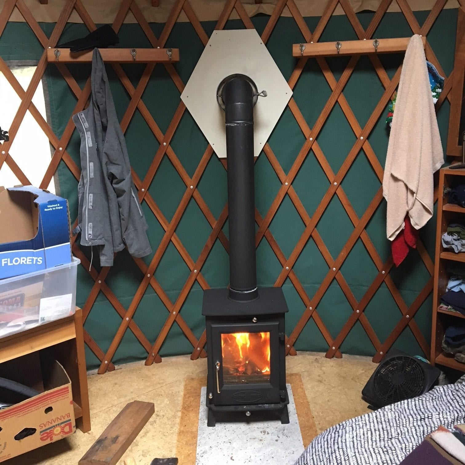 Dwarf 5kW Wood Stove in Yurt Wall Exit