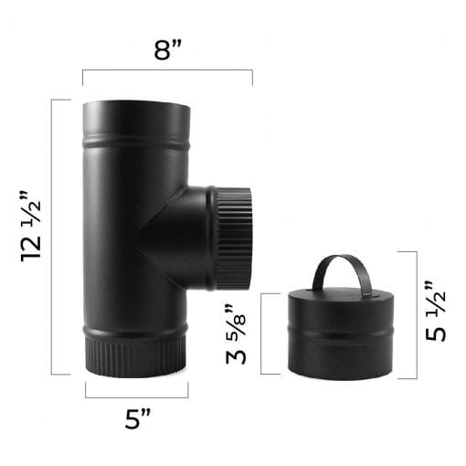 5 Inch Rear Exit Tee Separate Dimension